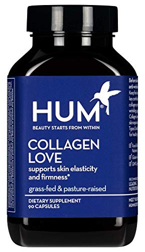 HUM Collagen Love - Type I & III Collagen Peptides Supplement for Skin with Hyaluronic Acid (90 Capsules)