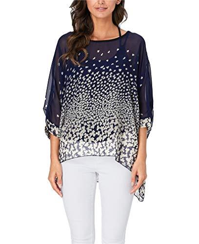 - Vanbuy Womens Summer Floral Printed Batwing Sleeve Top Chiffon Poncho Flowy Loose Sheer Blouse Shirt Tunic Z336-43-4328