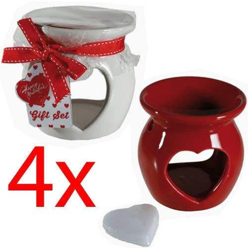 BARGAINS-GALORE 4 X OIL BURNER CERAMIC TEA LIGHT GRANULES TART WAX AROMATHERAPY + SCENTED MELTS OOTB