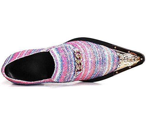 Arco Vestir Club nocturno Cuero a de hombre Inteligente Tamaño Fiesta metal 45 Zapatos 38 iris de Puntera BPwHq