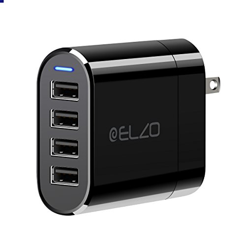 USB Charger, Elzo 32W 6.4A 4-Port USB Wall Charger Travel Adpator with Foldable Plug, iSmart 2.0 Technology Compatible with iPhone, iPad, Samsung, Android Phones, Tablets, Bluetooth Speakers