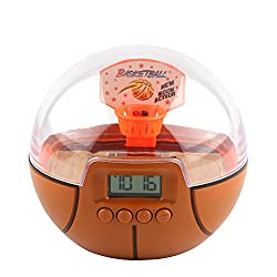 Handheld Mini Basketball Games Alarm Clock,Basketball Shooting Game Ball for Kids and Adults (Basketball)