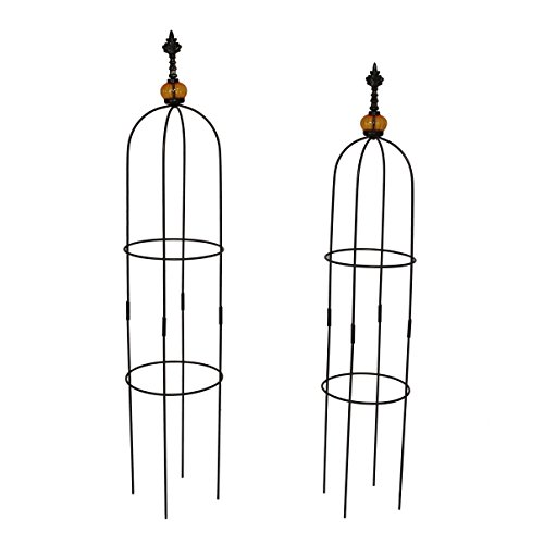 1.Go 2 Packs Garden Obelisk Metal Trellis Flower Support for Climbing Vines and Plants, 39.4