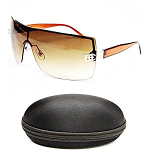 D1008-CC Designer Eyewear Shield Rimless Sunglasses (12 Gold/Brown, smoked)
