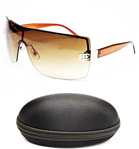 D1008-CC Designer Eyewear Shield Rimless Sunglasses (12 Gold/Brown, - Eyewear Rimless Designer