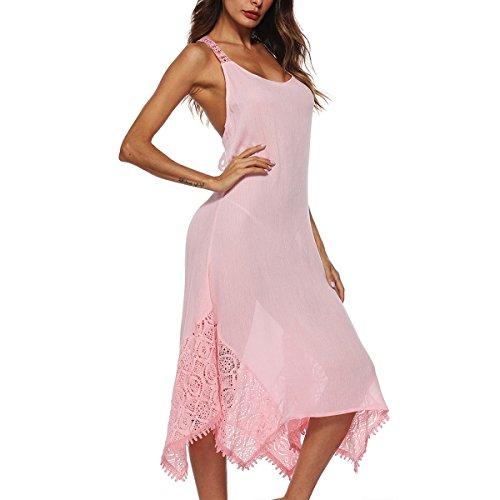 Irregular sección Vestido Color Hvzciuwrn Correa escapa Mujeres Costura la de 4XL de del se tamaño Honda detrás del Cruzada la cordón de largas Pink Que Faldas qOBx1