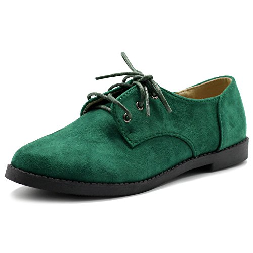Ollio Women Classic Flat Shoe Lace Up Faux Suede Oxford ZM2910(8 B(M) US, Green) -
