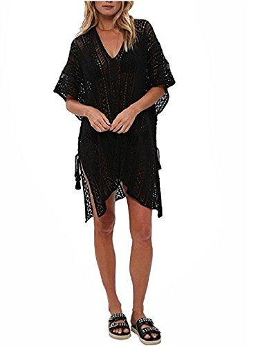 (NFASHIONSO Women's Fashion Swimwear Crochet Tunic Cover Up/Beach Dres,Black4)