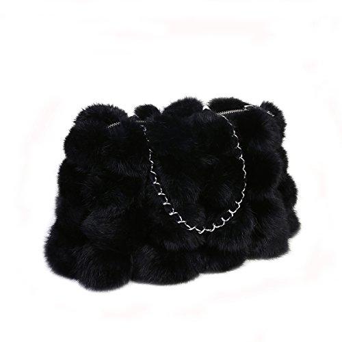 Metrekey Womens Fur Ball Purse Real Rabbit Fur Pompom Chain Handbags Black - Rabbit Fur Purse Handbag