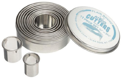 Oval Cake Ring - Ateco 5357 Plain Edge Round Cutters in Graduated Sizes, Stainless Steel, 11 Pc Set