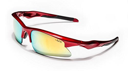 Luna Mars Running Cycling Sunglasses with Hard Protective Case (Gold Revo Lenses, Deep Red - Sunglasses Mars