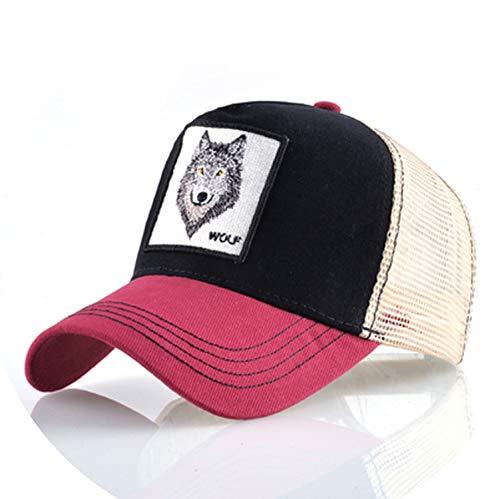 帽子 男性 夏の通気性メッシュ野球帽 女性 刺繍ヒップホップ カセットボーイズ,Red2,56-60cm