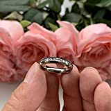 iTungsten 4mm Titanium Rings for Women Men Eternity Wedding Engagement Bands White Cubic Zirconia Inlay Domed Polished Shiny Comfort Fit