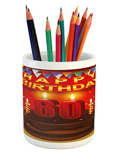 Ambesonne 60th Birthday Pencil Pen Holder, Festive Party The