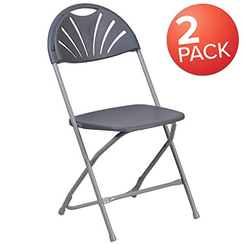(Flash Furniture 2 Pk. HERCULES Series 650 lb. Capacity Charcoal Plastic Fan Back Folding Chair)