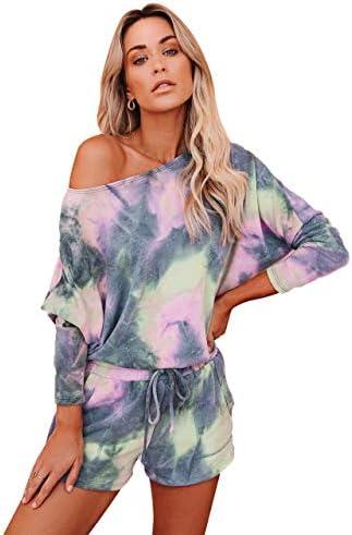 Remelon Womens Tie Dye Lounge Set Long Sleeve 2 Piece Shorts Set Outfits Sports Sweatsuits