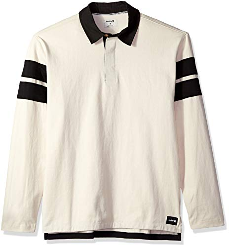 Hurley Men's Collared Rugby Polo Long Sleeve Shirt Light Cream XXL