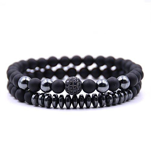 Zhepin 6MM Matte Onyx Beads Bracelet Set for Men Women Best Gift Energy Healing Stone Handmade Jewelry