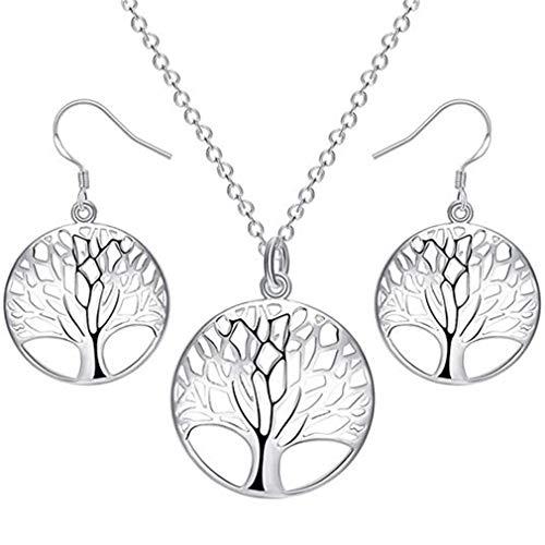 arrings Set Womens Tree of Life Disk Pendant Necklace Earrings ()