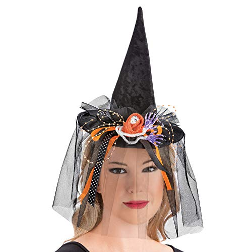 Witch Headband Hat and Glove Set, Easy Costume with Long Fingernails, 3 Pc, Black, One Size Fits All -
