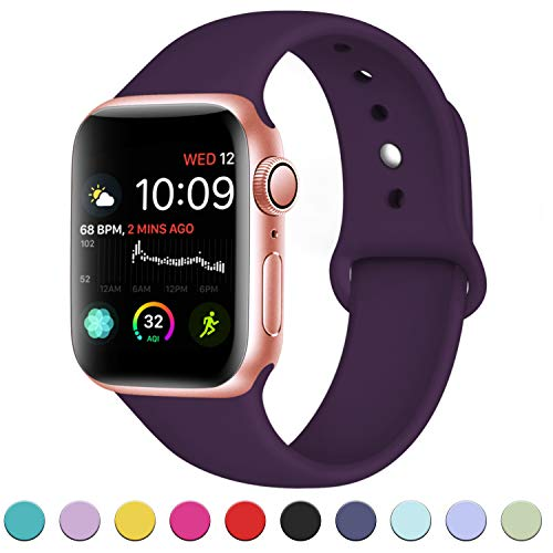 DaQin Bands Compatible with A pp le Watch Band 38mm 40mm, Soft Silicone Sport Replacement Wristbands Strap for A pp le Watch Series 4, Series 3/2/1, Purple, M/L