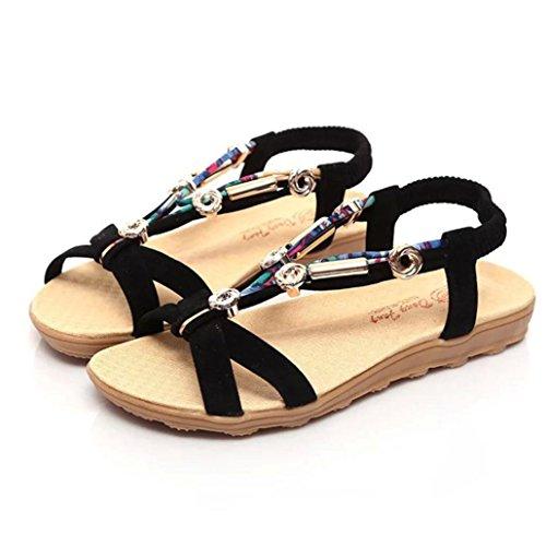Women's Girls Flip Sandals, Nice [Spring Summer Flat Sandals] Bohemia Shoes Sandals Clip Toe For Beach (Black, 37(US 6.5))