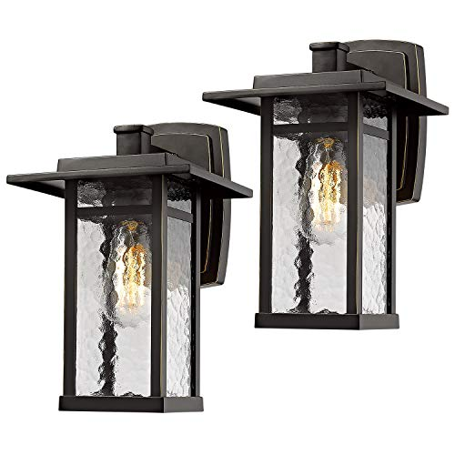 Outdoor Wall Light Sconce Beionxii 2 Pack Exterior Lighting Fixture 13.6-Inch Height, Oil Rubbed Bronze Finish with Water Ripple Glass - A268 Series