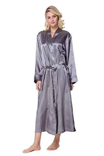 - Sunrise Women's Long Classic Satin Kimono Lounge Bathrobe Robe (Medium, Silver Grey)