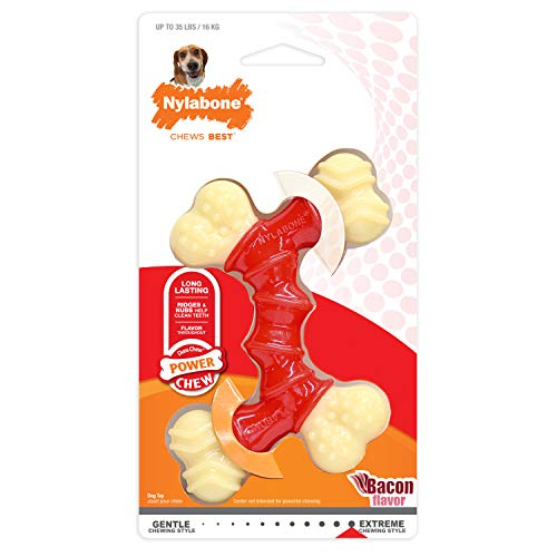 Nylabone Dura Wolf Bacon Flavored Double Bone Dog Chew Toy -
