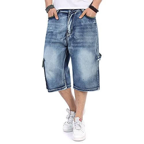 b0475edf2e PY-BIGG Men's Jeans Shorts Cargo Denim Shorts Relaxed Fit Big and Tall  Loose Casual