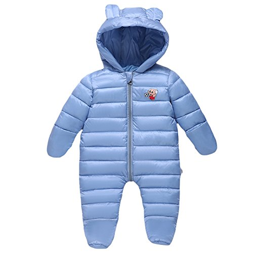 Toddler Baby Boy Girl Hooded Winter Puffer Warm Down Bunting Snowsuit Blue (Infant Down Bunting)