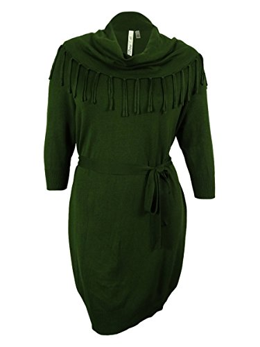 NY Collection Women's Fringe Cowl Neck Belted Sweater Dress (1X, (Glamour Belted Belt)