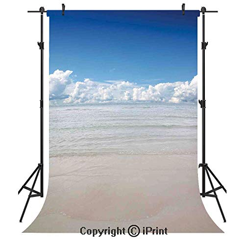 Ocean Photography Backdrops,Magical Sea to Sky View with Clouds Nature Exotic Beach in South Asia Paradise Hot,Birthday Party Seamless Photo Studio Booth Background Banner 5x7ft,Blue White Cream