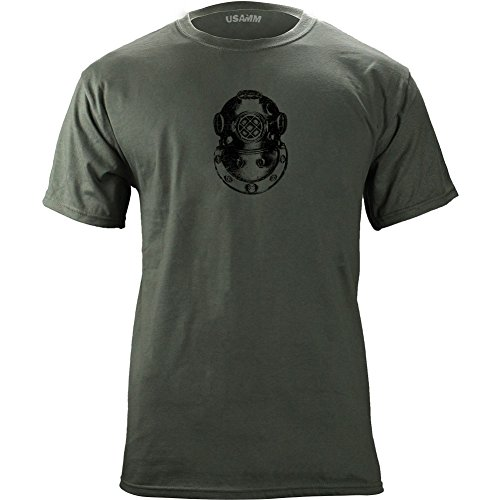 Vintage Army Diver Second Class Badge Subdued Veteran T-Shirt (L, Green)