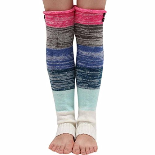 Oksale Women Colorful Crochet Knitted Leg Warmers Stocking Boot Cover Socks (Hot Pink) (Adult Leg Warmers)