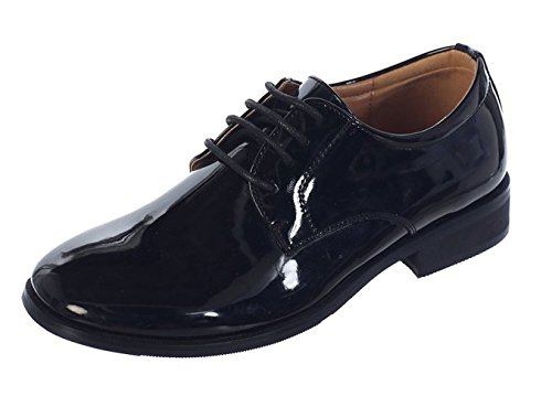 Avery Hill Boys Shiny or Shiny Patent Leather Shoes Bk Shiny Toddler 7