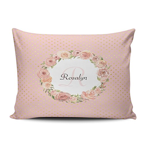 - Fanaing Bedroom Custom Decor Romantic Gold Dotted Rose Floral Monogrammed Name Pillowcase Soft Zippered Pink Throw Pillow Cover Cushion Case Fashion Design One-Side Printed Queen 20X30 Inches