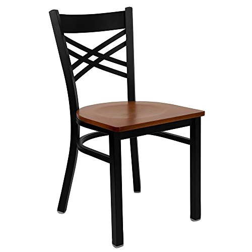 Jackson Cross Back Cafe Chair with Wood Seat Dimensions: 16.50