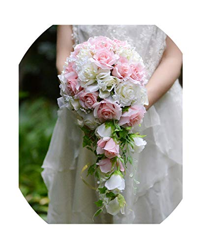 WodCht Beautiful Pink White Artificial Flowers Waterfall Wedding Bouquets with Bridal Brooch Bouquets Brides Bouquet,Color Same As -