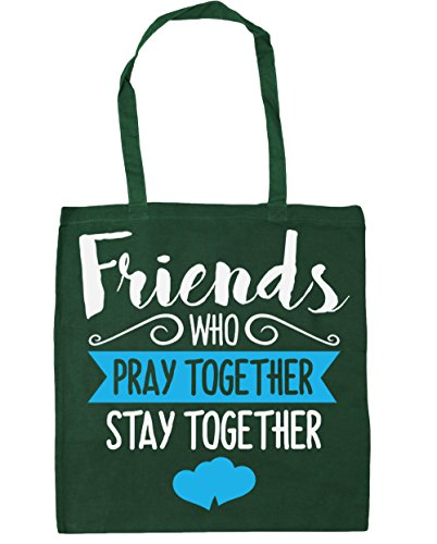 HippoWarehouse amigos que rezar juntos permanecer juntos Tote Compras Bolsa de playa 42cm x38cm, 10litros verde oscuro