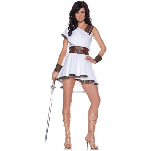Greek Goddess Princess Costumes (Women's Sexy Gladiator Costume - Olympia, White/Brown, X-Large)