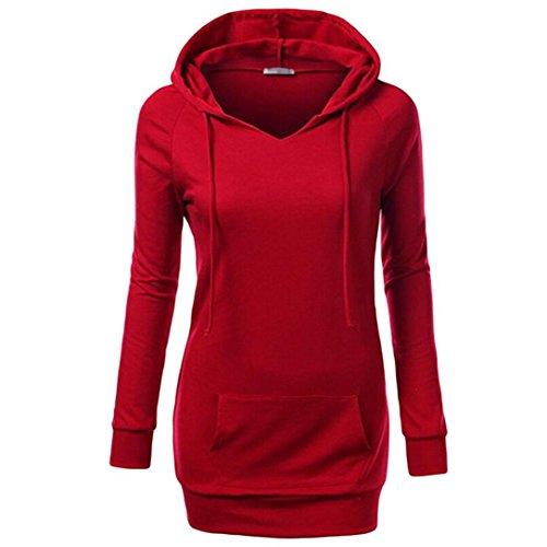 Cappotto Beautytop Autunno Felpe Invernali Pullover Tops Felpa Elegante Rosso Con Manica Donna Lunga Cappuccio qH6w4