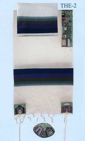 "Yair Emanuel Cotton Hand Embroidered Jerusalem in Blue Tallit Prayer Shawl Set - Size 61"" x 77"""