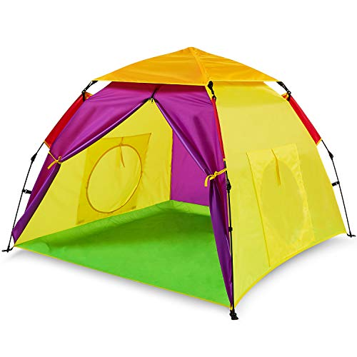Bend River Automatic Instant Kids Play Tent with Two Tunnel Entrances, UPF 50+ for Indoor/Outdoor, Multi-Color, 59' x 59' x 47'