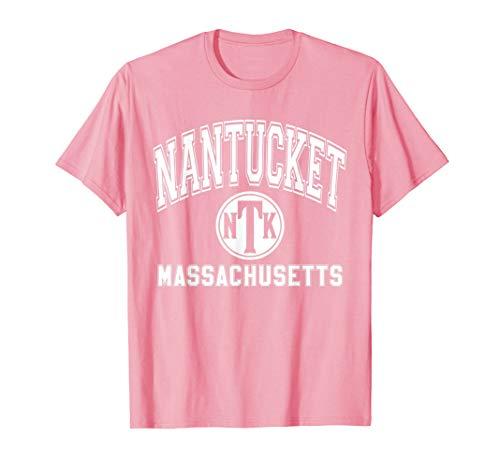 Nantucket NTK Varsity Style Pink with White Print T-Shirt