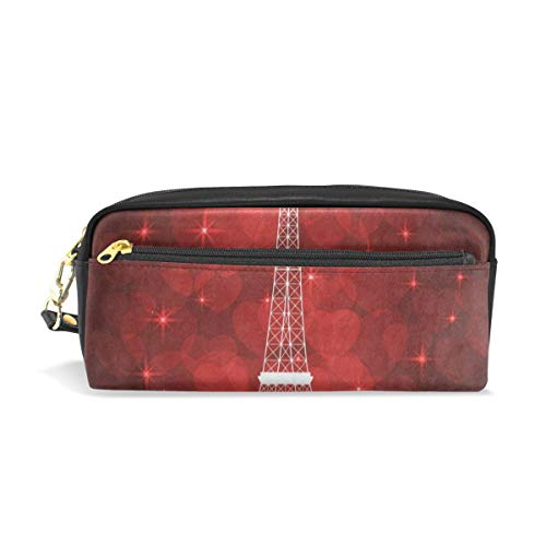 df88f68a6dd7 Pen Case Red Eiffel Tower Pencil Pouch Makeup Cosmetic Travel School Bag