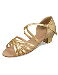 Minitoo TH013 Women's Cross Strap Satin Latin Salsa Ballroom Dance Shoes