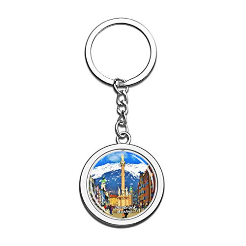 Austria Keychain St. Anna's Column The Medieval Maria Theresiastrasse Innsbruck Key Chain 3D Crystal Spinning Round Stainless Steel Keychains Travel City Souvenirs Key Chain Ring -