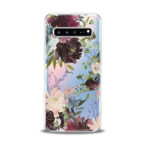 Lex Altern TPU Case for Samsung Galaxy s10 5G Plus 10e Note 9 s9 s8 s7 Clear Cover Flowers Peony Floral Leaves Print Protective Flexible Design Transparent Girls Women Soft Silicone Watercolor Gift]()