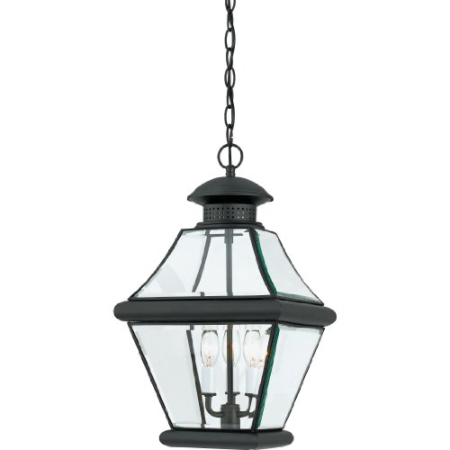 (Quoizel RJ1911K Rutledge Outdoor Pendant Lantern Ceiling Lighting, 3-Light, 180 Watts, Mystic Black (20
